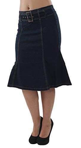 Women s Plus Size Trumpet Mermaid Front Belted Flare Short Denim Skirt in Navy Size 1XL