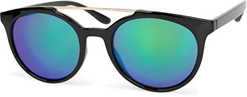 styleBREAKER Sonnenbrille mit runden Gläsern und kontrastfarbenen Nasen- und Verbindungssteg, Kunststoff-Metall-Gestell, Damen 09020072, Farbe:Gestell Schwarz-Gold/Glas Blau-Grün verspiegelt