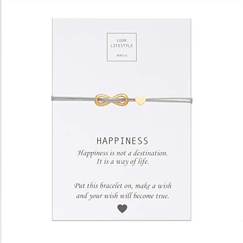 LUUK LIFESTYLE Filigranes Textil Armband mit Infinity und Herz Anhänger und Happiness Spruchkarte, Glücksbringer, Frauen Armband, beige, Hellbraun, Gold