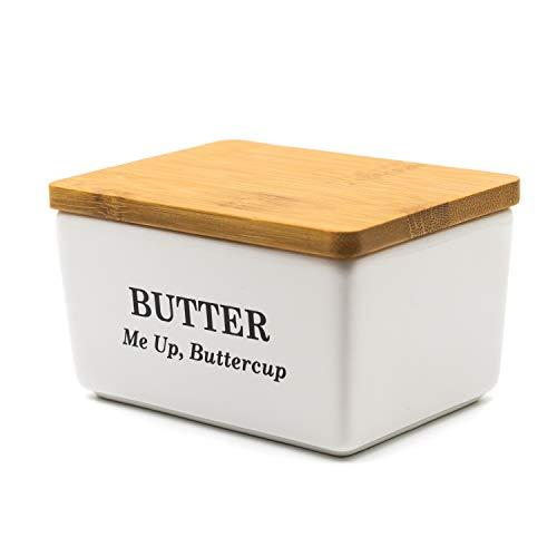 Pash Vista - Porcelain Butter Dish - Butter Me Up Buttercup - Secure Airtight Bamboo Lid with Seal Ring - Stylish Large Porcelain Butter Dish - Quality and Value