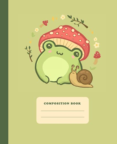 Composition Book: Cute Frog With Mushroom Hat | College Ruled Notebook |...