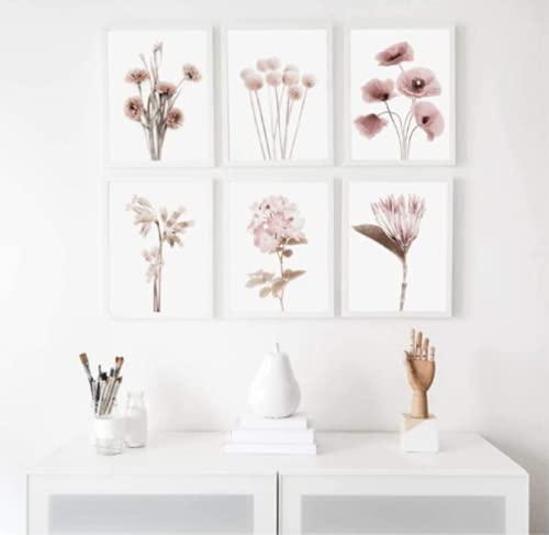 Terilizi Carteles Impresiones Flores Botánicas Galería Arte Pared Pintura Lienzo Planta Cuadros Sala Estar Decoración para Hogar20X30Cmx6Pcs Sin Marco