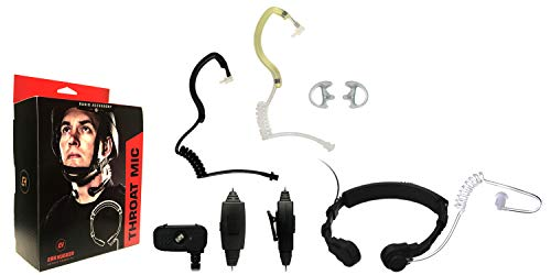 Find Discount Throat Mic Tactical Microphone Headset for TAIT TP9100 TP9135 TP9140 TP9155 TP9160, EH-TM-1020, Acoustic Tube Earhugger Earpiece, Police Surveillance Headset, Includes Earhugger Accessory Pack