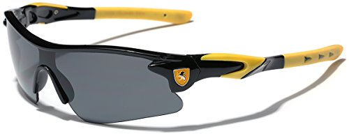 Half Frame Kids Teen Age 8-16 Performance Baseball Cycling Running Sport Sunglasses - Black & Yellow