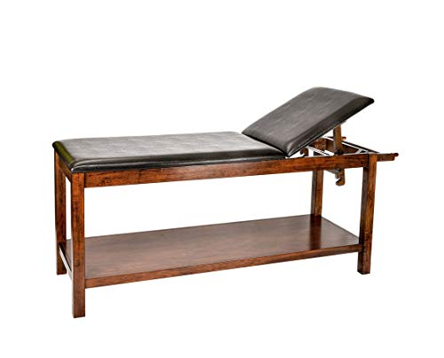 AdirMed Mahogany Wooden Exam Table with full shelf - Treatment table for hospital or clinic -