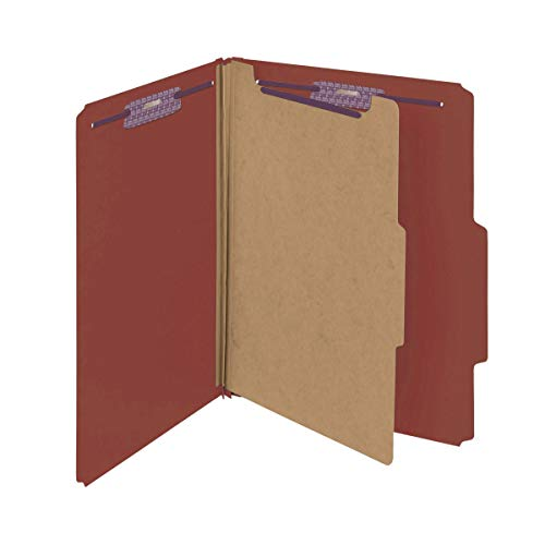 """Smead Pressboard Classification File Folder with SafeSHIELD Fasteners, 1 Divider, 2"""" Expansion, Letter Size, Red, 10 per Box (13775)"""