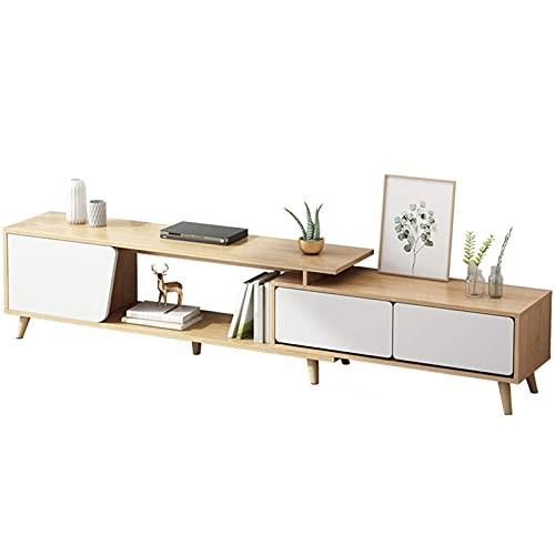 Home Equipment Mueble de TV simple nórdico Sala de estar casera moderna Mueble de TV retráctil Casa de campo Soporte de madera para TV Centro de entretenimiento Consola multimedia Mesa Mueble de TV