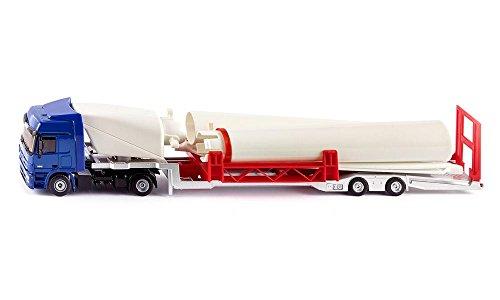 SIKU 3935, LKW mit Windkraftanlage, 1:50, Metall/Kunststoff, Multicolor, Aufstellbares Windrad inkl. Sockel