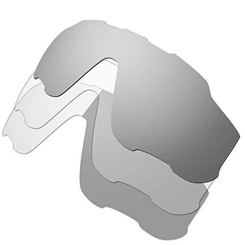 HKUCO Mens Replacement Lenses For Oakley Jawbreaker Sunglasses Silver/Transparent/Photochromic Polarized