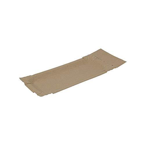 BIOZOYG Piatti di Carta con Supporto a Strappo Rettangolare I 8x18+3cm a Strappo I Piatti da merenda Marroni in Cartone Riciclato per Patatine Salsicc