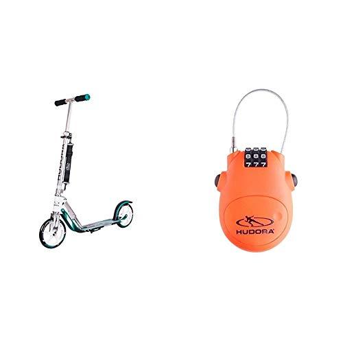 HUDORA 14751 BigWheel 205-Das Original mit RX Pro Technologie-Tret-Roller klappbar-City-Scooter, türkis & Kabel-Schloss Fahrrad Scooter, Zahlenschloss, 14492
