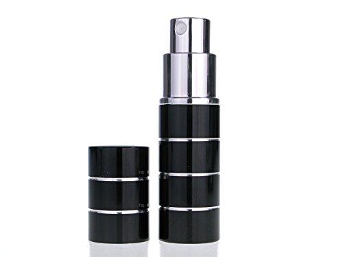 Atomizador de viaje de perfume de 10 ml con caja de regalo de The Essential Atomizer Co. Negro con diseño de anillo de plata