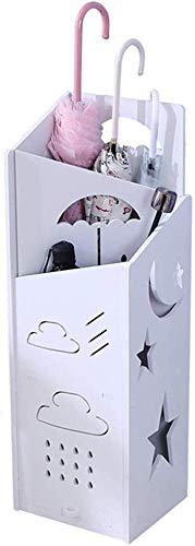 HEWEI paraplu voor hal, paraplu van hout, rechthoekig (wit) (kleur: B)