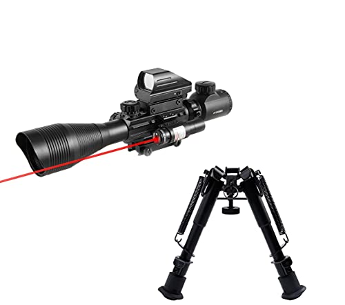 Pinty Rifle Scope 4-12x50EG Rangefinder Mil Dot Tactical Reticle Scope with Laser Sight and Red Dot Sight & Rifle Tactical Bipod Adjustable 6-9 Inch Adapter Compatible with Picatinny Rail System