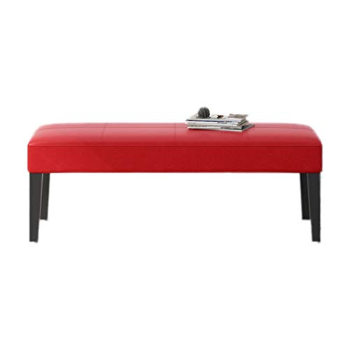 Wood Footstool Hallway Shoes Cabinet Shoe Storage Bench Seat PU Upholstered Bench Pouffe Chair for Entryway Living Room Bedroom Bed end Stool (Color : Red, Size : 60cm)