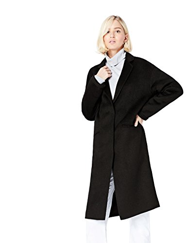 Amazon-Marke: find. Mantel Damen aus leichtem Wollmix mit Oversized-Design, Schwarz (Black), 36, Label: S