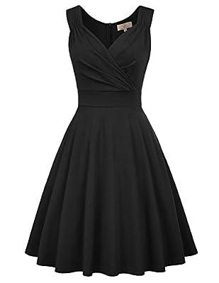 GRACE KARIN Women's Sleeveless V-Neck Wrap Cocktail Dresses A-Line L Black