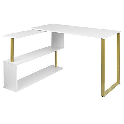 WOLTU® Schreibtisch TS65gdws Eckschreibtisch Winkelschreibtisch Winkelkombination Computertisch Bürotisch Arbeitstisch PC Laptop Tisch, mit Ablagen, 120x100x74cm(BxTxH), MDF, Gold+Weiß
