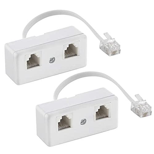 2 Piezas Cable RJ11 6P4C Adaptador, Adaptador Hembra para Ethernet, Convertidor de...