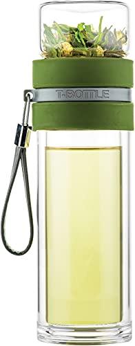 T-BOTTLE teeflasche to Go, Doppelwandig Glas, Frischer Tee den ganzen Tag, 300ml, Forest Green