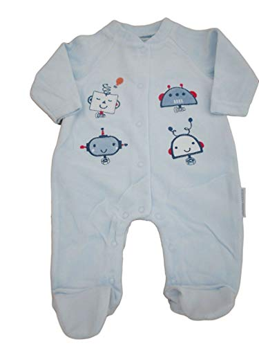 Nursery Time Horloge de Chambre avec étiquettes. Grenouillère en Velours pour bébé garçon Motif Robot Bleu - Bleu - S