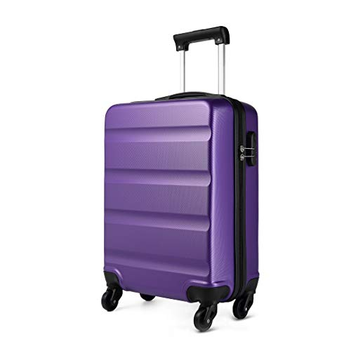 Kono Cabin Luggage Hard Shell ABS Carry-on Suitcase with 4 Spinner Wheels and Dial Combination Lock(Purple)