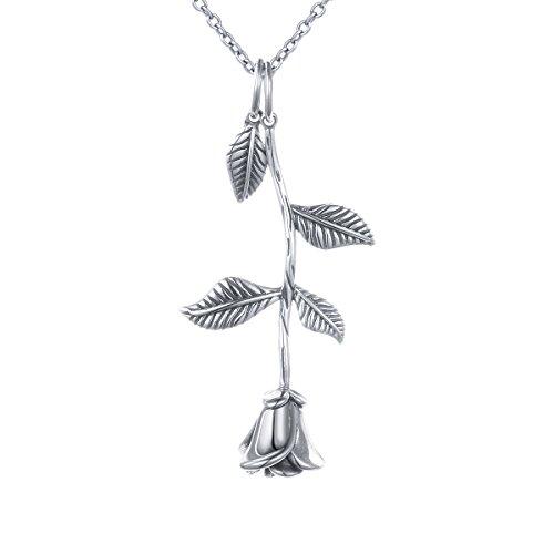 DAOCHONG S925 Sterling Silber Rose Blume Anhänger Halskette Tanzen Rose Romantische Halskette, Oxidized