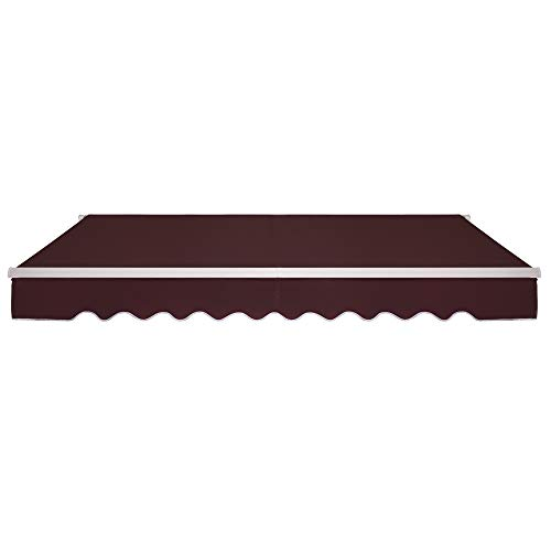 VINGLI 12x10 Feet Patio Awning Retractable Sunshade Window Door Shelter Awning Cover Canopy Market Deck Awnings with Manual Crank Handle, Burgundy