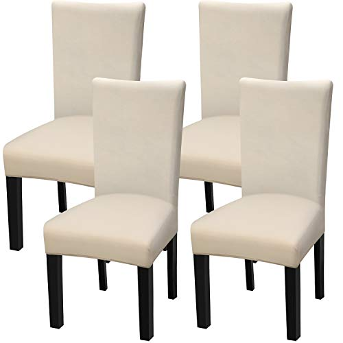 Fuloon 4 Pack Super Fit Stretch Removable Washable Short Dining Chair Protector Cover Seat Slipcover for Hotel,Dining Room,Ceremony,Banquet Wedding Party (Cream-Coloured)