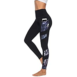 JOYSPELS Women's High Waisted Gym Leggings – Full Color Printed Leggings Non See Through Yoga Pants with Pockets for Gym, Cycling, Yoga, Running, Daily Leisure