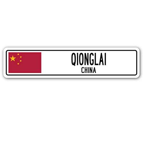 New Road Sign QIONGLAI China Aluminium Straßenschild Asiatische chinesische Flagge Stadt Land Straße Wandschild Vintage Straßenschild 10,2 x 40,6 cm