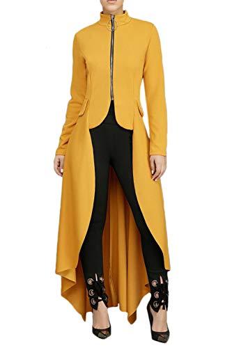Sevozimda Mujeres Sudadera Vestidos Abrigo Alto Bajo Irregular Tops para Leggings Maxi Vestido Amarillo L