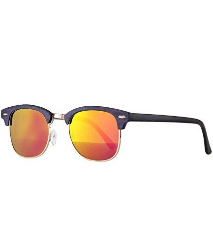 Caripe Retro Sonnenbrille Vintage 50er 60er 80er Damen Herren Halbrahmen Verspiegelt - clu2 (Modell 4 - Holzoptik violett - sunviolett verspiegelt
