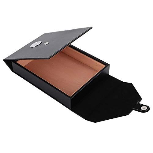 KUIDAMOS Zigarren Humidor, Mini tragbare Leder Humidor Zigarrenschachtel, Holz Zigarettenbehälter Aufbewahrungskoffer, 10-15 Zigarren Kapazität, Zedernholz Fall für Feuchtigkeitskontrolle(Schwarz)