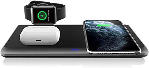 Cargador Inalámbrico Rápido, 3 en 1 Soportes de Carga Inalámbrico para Apple Watch, AirPods Pro, Estación de Carga Inalámbrica para iPhone SE(2020)/11 Pro/11 Pro Max/XR/XS/X/8, Samsung Galaxy S20/S10