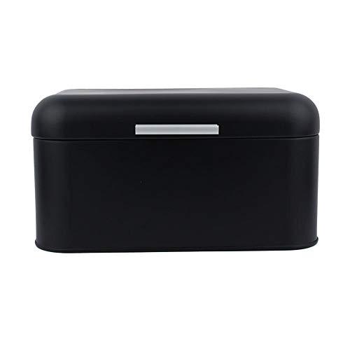 Boite Metal Bread à pain - VIFER Vintage Metal Bread Bin Box Grande capacité Conteneur de stockage de cuisine Rouge/Bleu/Noir 1PC(Noir)