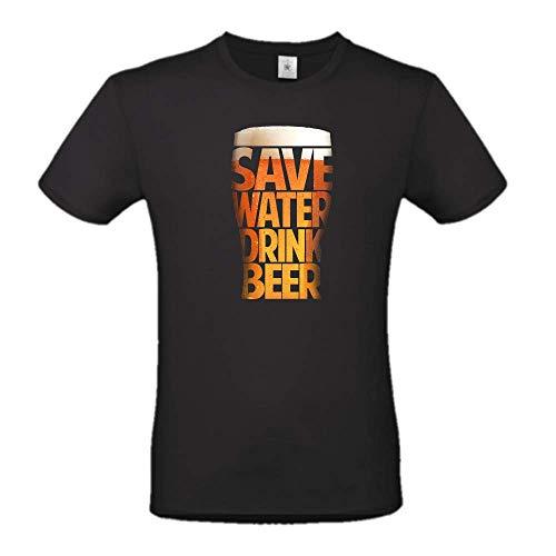 DND DI D'ANDOLFO CIRO T-Shirt Maglia Uomo Nera Save Water Drink Beer, Stampata Direttamente su Tessuto Idea Regalo Divertente (M)