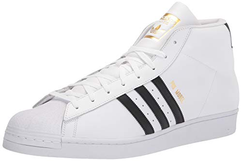 adidas Originals Men's Pro Model, Footwear White/Core Black/Gold, 4 M US