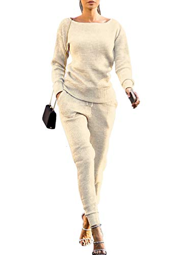 VNVNE Womens Fall Rib-Knit Pullover Sweater Top & Long Pants Set 2 Piece Outfits Tracksuit (Beige, L)