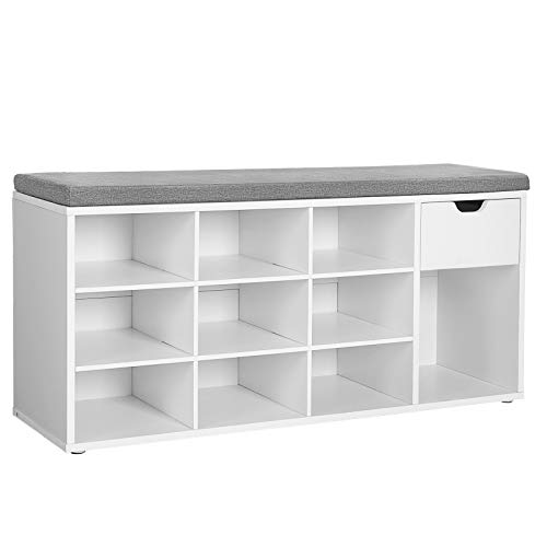 VASAGLE Shoe Bench, Storage Bench with Drawer and Open Compartments, Shoe Shelf, White ULHS24WT