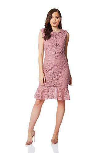 Roman Originals Damen Spitzenkleid mit ausgestelltem Saum - Damen Kleid für formelle Anlässe, abends, Hochzeiten, Partys, Cocktails, Brautmutter, Pferderennen - Ladder Trim - Rose - Größe 42