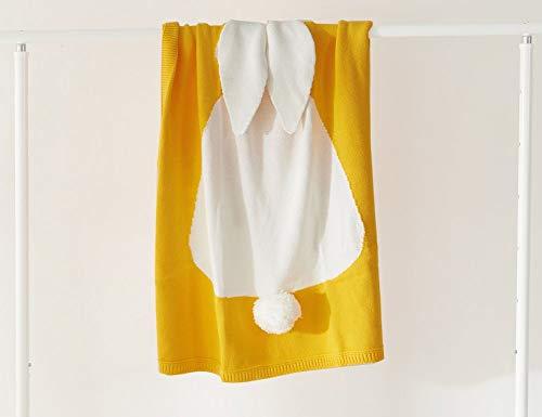 Ericcay Lovey Baby 100% Coton Tricoté Casual Chic Couverture Les Tout Petits Doux Couvertures Couvertures Couverture Avec Motif De Lapin Pour Poussette Voyage (Color : Gelb, Size : 75x105Cm)