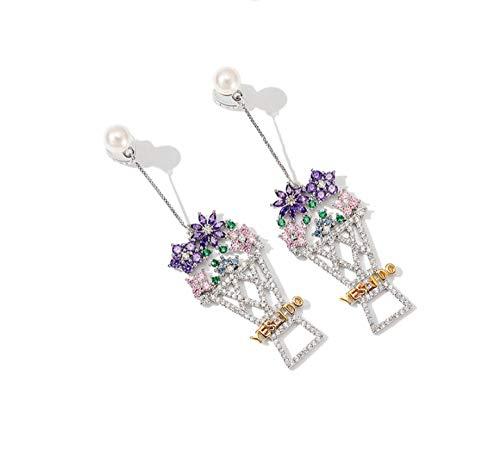 Haespsd 925 zilveren oorbellen gekleurde zirkoon bloem mand oorbellen gepersonaliseerde uitsparing oorbellen bruidsdecoratie sieraden
