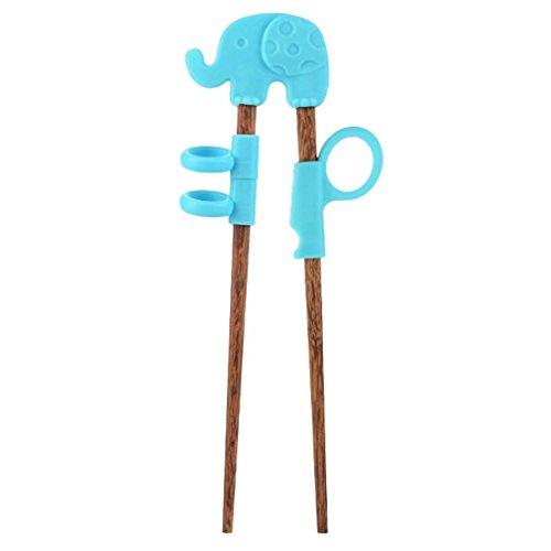 Gluckliy Kind Essstäbchen für Anfänger Chopsticks,Baby Trainings Stäbchen Holz Kinder Senioren Chopsticks und Silikon Übung Training Werkzeuge (Blau Elefant)