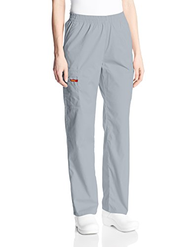 Dickies Women's Signature Elastic Waist Scrubs Pant, Grey, X-Large