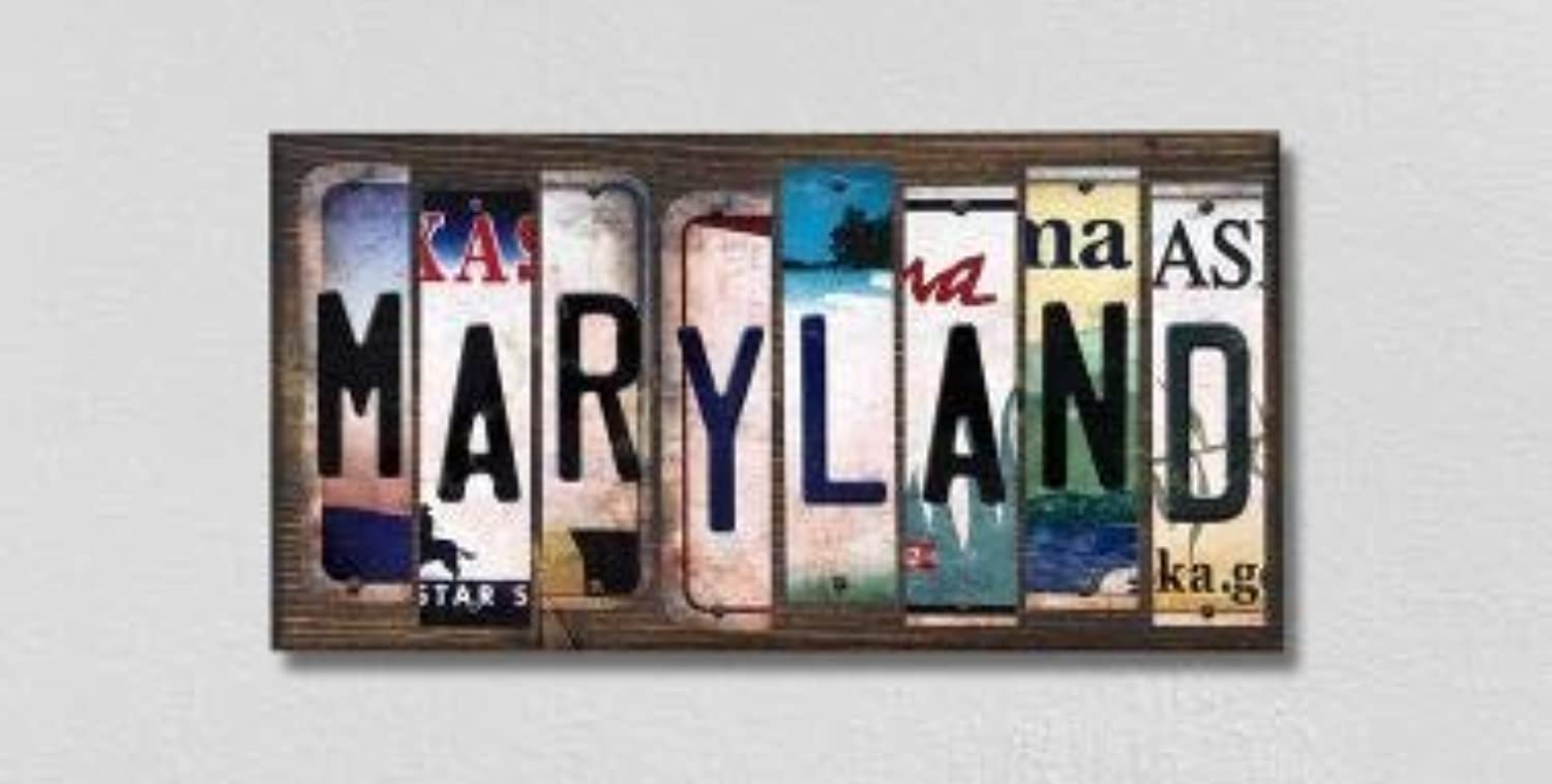 Maryland License Plate Strips Novelty Wood Signs (with Sticky Notes)