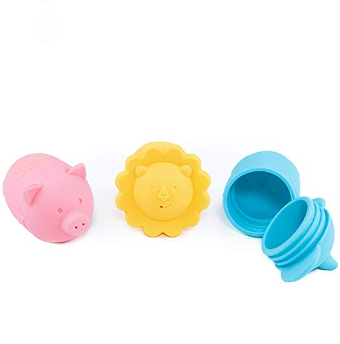 Giggles & Pebbles Silicone Pop-Squirt Bath Toy – BPA, PVC, Phthalate, Latex Free - Shower Toys (3pc) with Storage Bag for Infant Baby Toddler Boys and Girls