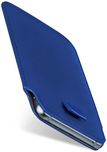 moex Slide Hülle für HP Elite x3 - Hülle zum Reinstecken, Etui Handytasche mit Ausziehhilfe, dünne Handyhülle aus edlem PU Leder - Blau