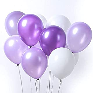 [100 PCS] PURPLE 50 WHITE 50 PCS TORIX Party Balloons professional Natural Latex combo Pack of 100 Balloons Baby Showers, ...