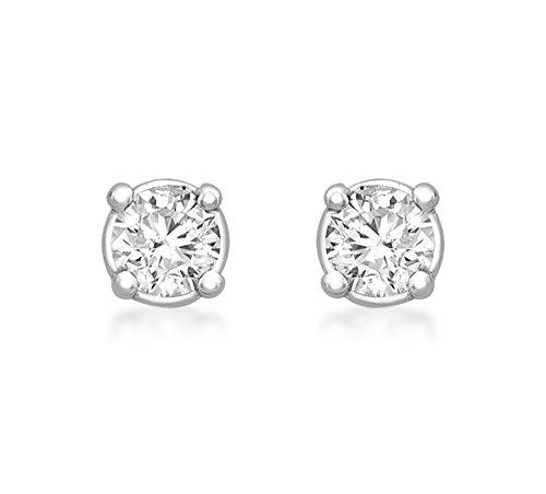 Carissima Gold 7.58.015Y - Pendientes de oro blanco (14k) con diamante con cierre de mariposa a...